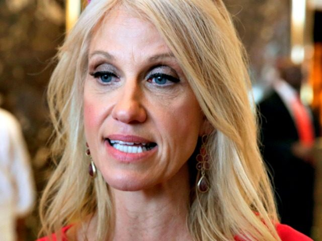 Campaign manager Kellyanne Conway for U.S. Republican presidential nominee Donald Trump speaks to the media at Trump Tower in the Manhattan borough of New York, U.S., August 17, 2016. REUTERS/Carlo Allegri - RTX2LLJJ