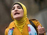 NEW YORK, NY - APRIL 13: Activist Linda Sarsour speaks during a 'Women For Syria' gathering at Union Square, April 13, 2017 in New York City. The group gathered to support and stand with the people of Syria and call for the United States to accept Syrian refugees. (Photo by Drew Angerer/Getty Images)