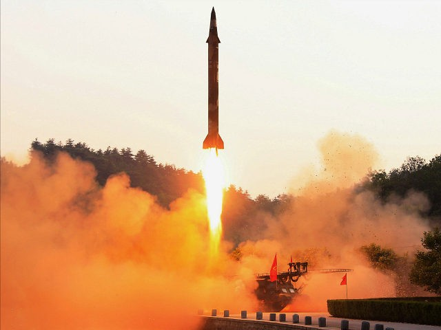TOPSHOT - This undated photo released by North Korea's official Korean Central News Agency (KCNA) on May 30, 2017 shows a test-fire of a ballistic missile at an undisclosed location in North Korea. / AFP PHOTO / KCNA via KNS / STR / South Korea OUT / REPUBLIC OF KOREA OUT ---EDITORS NOTE--- RESTRICTED TO EDITORIAL USE - MANDATORY CREDIT 'AFP PHOTO/KCNA VIA KNS' - NO MARKETING NO ADVERTISING CAMPAIGNS - DISTRIBUTED AS A SERVICE TO CLIENTS THIS PICTURE WAS MADE AVAILABLE BY A THIRD PARTY. AFP CAN NOT INDEPENDENTLY VERIFY THE AUTHENTICITY, LOCATION, DATE AND CONTENT OF THIS IMAGE. THIS PHOTO IS DISTRIBUTED EXACTLY AS RECEIVED BY AFP. / (Photo credit should read STR/AFP/Getty Images)