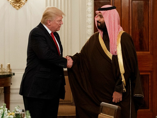 FILE -- In this March 14, 2017, file photo, President Donald Trump shakes hands with Saudi Defense Minister and Deputy Crown Prince Mohammed bin Salman, in the State Dining Room of the White House in Washington. Saudi Arabia is making every effort to dazzle and impress President Donald Trump on …