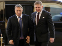 Hungarian Prime Minister Viktor Orban (L) is welcomed by Slovak Prime Minister Robert Fico as he arrives for the Visegrad Group meeting (Czech Republic, Hungary, Poland and Slovakia ) in Bratislava on December 9, 2014. AFP PHOTO / SAMUEL KUBANI (Photo credit should read SAMUEL KUBANI/AFP/Getty Images)