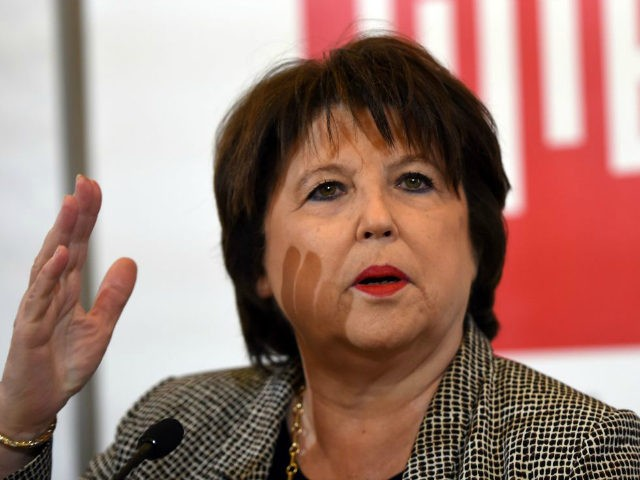 Lille's socialist (PS) mayor, Martine Aubry speaks during a press conference to provide an overview on current local events on March 3, 2017 in Lille, northern France. / AFP PHOTO / FRANCOIS LO PRESTI (Photo credit should read FRANCOIS LO PRESTI/AFP/Getty Images)