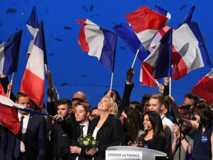 VILLEPINTE, FRANCE - MAY 01: Presidential Candidate Marine Le Pen thanks her supporters during an election rally on May 1, 2017 in Villepinte, France. Le Pen faces Emmanuel Macron in the final round of the French presidential elections on May 07. (Photo by Jeff J Mitchell/Getty Images)