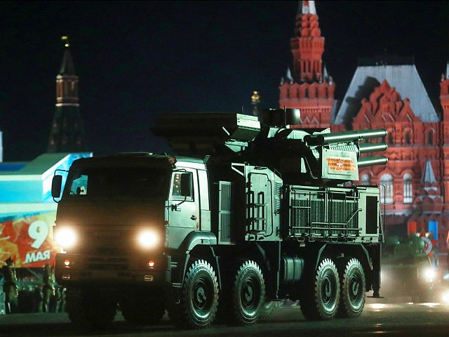 MOSCOW, RUSSIA MAY 3, 2017: Pantsir-S, a surface-to-air missile and anti-aircraft artillery weapon system, participates in a night rehearsal of a Victory Day military parade held in Moscows Red Square to mark the 72nd anniversary of the victory over Nazi Germany in the 1941-1945 Great Patriotic War, the Eastern Front …