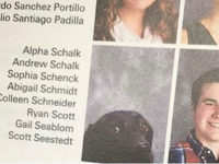 Andrew Schalk, a junior, appeared alongside a photo of his service dog, Alpha, in Stafford High School's 2017 school yearbook, the New York Daily News reported.