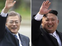 FILE - These combination of file photos shows South Korea's new President Moon Jae-in, left, waves in Seoul, South Korea on May 10, 2017 and North Korean leader Kim Jong Un on April 15, 2017. Moon said he is willing to meet with Kim — if, of course, the conditions …