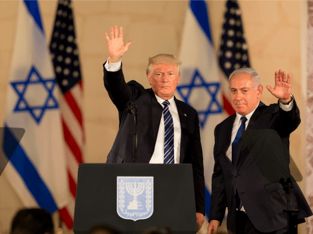 U.S. President Donald Trump and Israeli Prime Minister Benjamin Netanyahu wave at the Israel museum in Jerusalem, Tuesday, May 23, 2017. (AP Photo/Sebastian Scheiner)