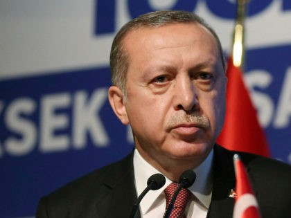 Turkey's President Recep Tayyip Erdogan addresses a business meeting in Istanbul, Thursday, May 18, 2017. Turkey has told the United States it will not join in any military operations that include Kurdish fighters in Syria, Erdogan said Thursday, while vowing to strike the U.S.-backed Kurds if they threaten Turkey's security.(Presidency …