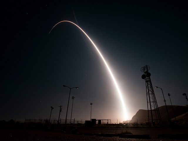 In this image taken with a slow shutter speed and provided by the U.S. Air Force, an unarmed Minuteman 3 intercontinental ballistic missile launches during an operational test early Wednesday, April 26, 201, from Vandenberg Air Force Base, Calif. The target of the test was in the Pacific Ocean. An …