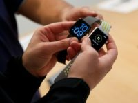 A new survey shows Apple has vaulted to the lead in the market for wearable computing thanks to strong sales of its Apple Watch, the latest of which is seen at a New York retail store