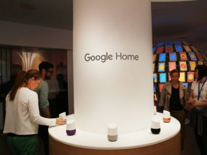 The Google Home smart home hub, shown here at a New York pop-up store in 2016, will communicate with GE Appliances under a deal announced Wednesday
