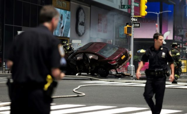 A car plunged into pedestrians in Times Square in New York on May 18, 2017
