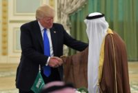US President Donald Trump (L) shakes hands with Saudi Arabia's King Salman bin Abdulaziz al-Saud during a signing ceremony at the Saudi Royal Court in Riyadh on May 20, 2017