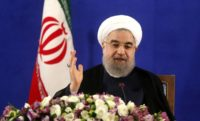 """Iran's newly re-elected President Hassan Rouhani, at a press conference in Tehran on May 22, mocks US strategy in the Middle East and dismisses Donald Trump's summit with Arab leaders as """"just a show"""""""