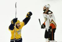 Colton Sissons of the Nashville Predators celebrates a third period goal in Game Six of the NHL Western Conference finals against the Anaheim Ducks, at Bridgestone Arena in Nashville, Tennessee, on May 22, 2017