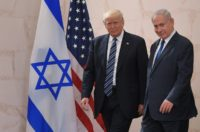 US President Donald Trump walks alongside Israeli Prime Minister Benjamin Netanyahu as he arrives to deliver a speech at the Israel Museum in Jerusalem on May 23, 2017