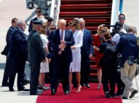 US President Donald Trump and First Lady Melania Trump step onto the red carpet at Israel's Ben Gurion Airport on May 23, 2017