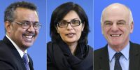 The three candidates for director-general of the World Health Organization (from L) former Ethiopian foreign minister Tedros Adhanom, Pakistani cardiologist Sania Nishtar and British doctor David Nabarro
