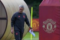 Manchester United's Jose Mourinho arrives to attend a team training session at the club's training complex near Carrington, on May 23, 2017