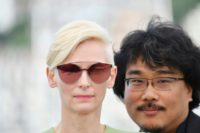 British actress Tilda Swinton and South Korean director Bong Joon-ho are promoting the film 'Okja' at the Cannes Film Festival in southern France