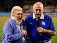 "Tommy (R) and Jo Lasorda make the ""play ball"" announcement at Dodger Stadium in 2016"