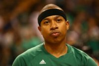 Isaiah Thomas of the Boston Celtics aggravated a right hip injury in the second game of the Eastern Conference finals against the Cleveland Cavaliers and missed the rest of the series