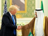US President Donald Trump (L) and Saudi Arabia's King Salman bin Abdulaziz al-Saud shaking hands during a signing ceremony at the Saudi Royal Court in Riyadh on May 20, 2017