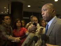 Houston Mayor Sylvester Turner speaks with the media during a business forum in Havana, Cuba, Monday, Sept. 26, 2016. The forum was attended by business representatives from Houston and Havana, to explore opportunities in areas of health, sports, energy, commerce and art, according to local state-run media Cubadebate. (Ismael Francisco, …