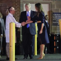 President Donald Trump and first lady Melania Trump with Ira Y. Rabin, MD, left, after visiting MedStar Washington Hospital Center in Washington, Wednesday, June 14, 2017, where House Majority Leader Steve Scalise of La. was taken after being shot in Alexandria, Va., during a Congressional baseball practice. (AP Photo/Pablo Martinez …
