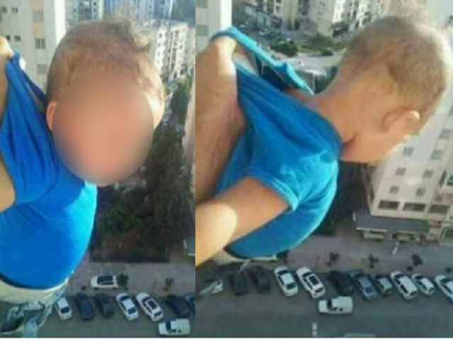 Baby dangles from balcony - Facebook