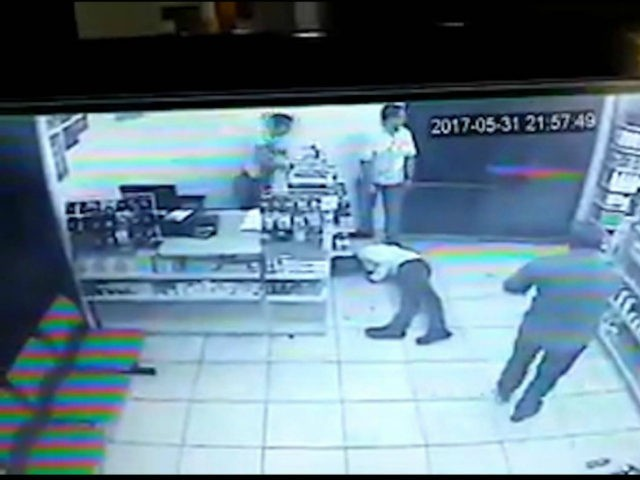 A robbery suspect in Brazil entered a convenience store and drew his gun only to be shot multiple times in a situation in which everyone was armed.