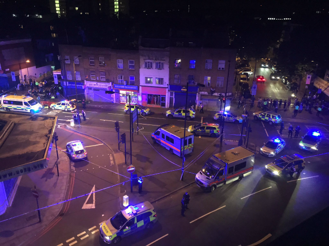 Vehicle hits pedestrians near mosque in London; 1 dead, 10 hurt
