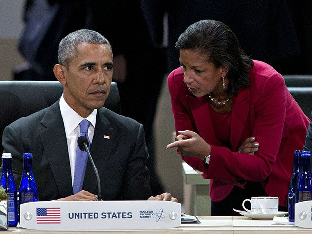 WASHINGTON, DC - APRIL 1: (AFP OUT) U.S. President Barack Obama (L) talks to Susan Rice, U.S. national security advisor(C) during a closing session with David Cameron, U.K. prime minister (R) at the Nuclear Security Summit April 1, 2016 in Washington, D.C. After a spate of terrorist attacks from Europe to Africa, Obama is rallying international support during the summit for an effort to keep Islamic State and similar groups from obtaining nuclear material and other weapons of mass destruction. (Photo By Andrew Harrer/Pool/Getty Images)