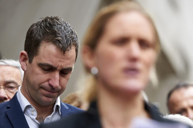Widower of murdered Labour MP Jo Cox, Brendan Cox (L) react as Jo's sister Kim Leadbeater delivers a statement outside the Old Bailey criminal court in London on November 23, 2016, following the conviction of Jo's killer Thomas Mair. A far-right extremist Thomas Mair was Wednesday sentenced to life imprisonment …