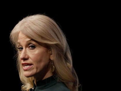 Kellyanne Conway, Counselor to the President, speaks at the Newseum during their 'The President and The Press, The First Amendment in the First 100 Days' event April 12, 2017 in Washington, DC. Conway, formerly President Trump's campaign manager, is one of the administration's main surrogates appearing often on television. (Photo …