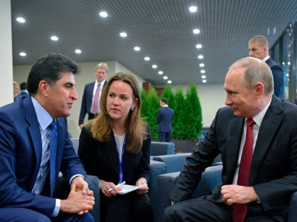Russian President Vladimir Putin, right, speaks with Prime Minister of Iraq's autonomous Kurdish region Nechirvan Barzani during their meeting at the the St. Petersburg International Economic Forum in St. Petersburg, Russia, Friday, June 2, 2017. (Alexei Druzhinin/Sputnik, Kremlin Pool Photo via AP)