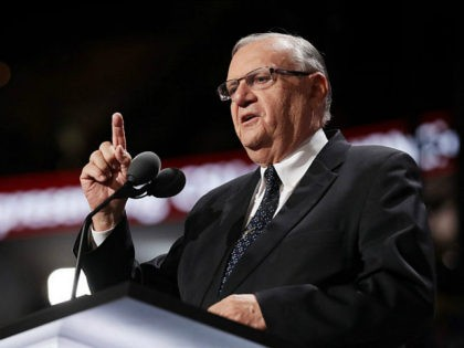 CLEVELAND, OH - JULY 21: Maricopa County Sheriff Joe Arpaio gestures to the crowd as he delivers a speech on the fourth day of the Republican National Convention on July 21, 2016 at the Quicken Loans Arena in Cleveland, Ohio. Republican presidential candidate Donald Trump received the number of votes …