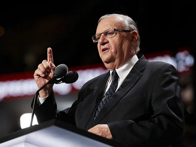 CLEVELAND, OH - JULY 21: Maricopa County Sheriff Joe Arpaio gestures to the crowd as he delivers a speech on the fourth day of the Republican National Convention on July 21, 2016 at the Quicken Loans Arena in Cleveland, Ohio. Republican presidential candidate Donald Trump received the number of votes needed to secure the party's nomination. An estimated 50,000 people are expected in Cleveland, including hundreds of protesters and members of the media. The four-day Republican National Convention kicked off on July 18. (Photo by Chip Somodevilla/Getty Images)