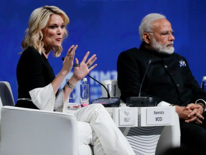 NBC journalist Megyn Kelly, left, and Indiain Prime Minister Narendra Modi attend the St. Petersburg International Economic Forum in St. Petersburg, Russia, Friday, June 2, 2017. (AP Photo/Dmitry Lovetsky)