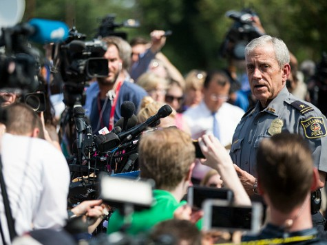 Michael Brown, Alexandria Chief of Police, briefs members of the press near Eugene Simpson Field, the site where a gunman opened fire June 14, 2017 in Alexandria, Virginia. Multiple injuries were reported from the instance, the site where a congressional baseball team was holding an early morning practice, including House …