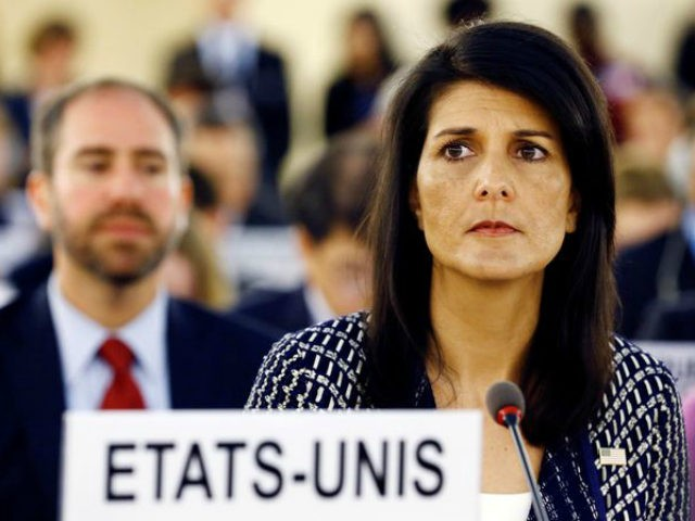"""U.S. Ambassador to the United Nations Nikki Haley made a sharp speech at the U.N.'s Human Rights Council Tuesday, calling on the body to fix its """"chronic"""" anti-Israel bias, and calling on Venezuela to step down from the council if it will not end its human rights abuses."""