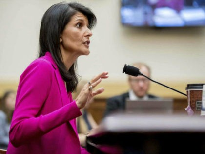 U.S. Ambassador to the UN Nikki Haley testifies in Washington on June 28, 2017, before the House Foreign Affairs Committee. (AP Photo/Andrew Harnik)