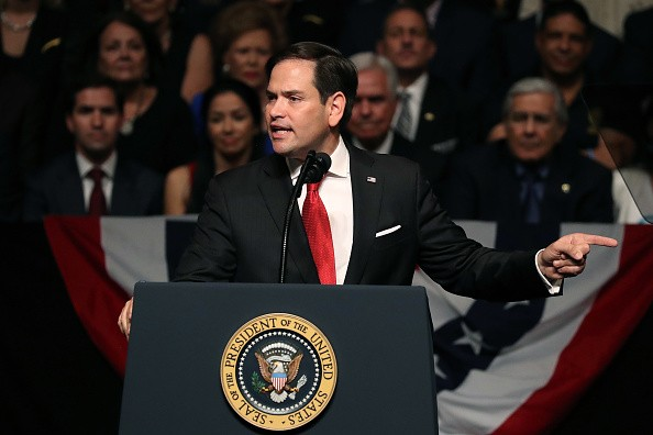 MIAMI, FL - JUNE 16: U.S. Sen. Marco Rubio (R-FL) speaks ahead of President Donald Trump announcing policy changes he is making toward Cuba at the Manuel Artime Theater in the Little Havana neighborhood on June 16, 2017 in Miami, Florida. The President will re-institute some of the restrictions on …