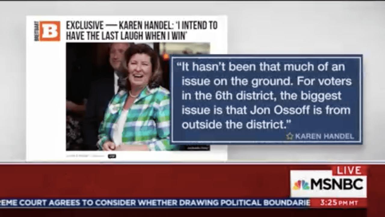 Karen Handel message (Screenshot / MSNBC)