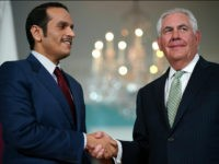 WASHINGTON, DC - JUNE 27: U.S. Secretary of State Rex Tillerson shakes hands with Qatari Foreign Minister Sheikh Mohammed Bin Abdulrahman Al Thani prior to a scheduled meeting at the State Department June 27, 2017 in Washington, DC. Tillerson and Bin Abdulrahman Al Thani were expected to discuss a range …