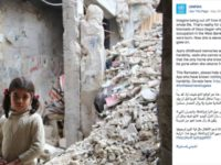 UNRWA uses image of a girl in Syria with the claim that the scene is in Gaza in a fundraising campaign.