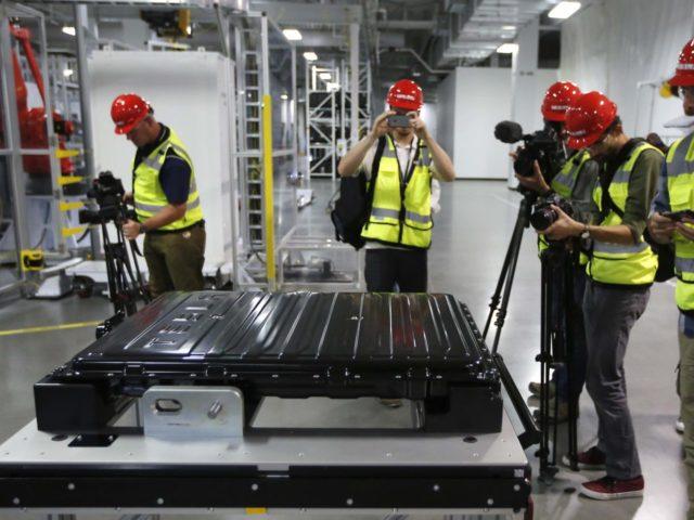 Tesla Gigafactory battery (Rich Pedroncelli / Associated Press)