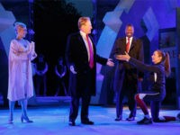 FILE - In this May 21, 2017, file photo provided by The Public Theater, Tina Benko, left, portrays Melania Trump in the role of Caesar's wife, Calpurnia, and Gregg Henry, center left, portrays President Donald Trump in the role of Julius Caesar during a dress rehearsal of The Public Theater's …
