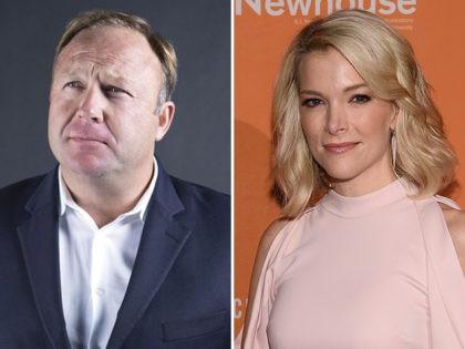 InfoWars host Alex Jones and NBC News host Megyn Kelly. (InfoWars.com, Dimitrios Kambouris/Getty Images)