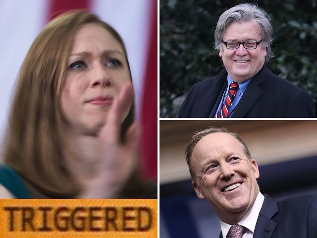 Chelsea Clinton, Steve Bannon, and Sean Spicer.